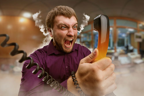 Angry customer on phone