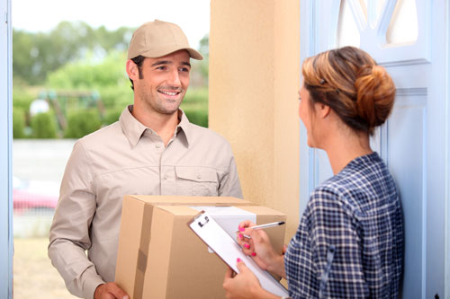 Delivery man with customer
