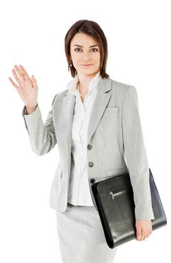 Customer service manager waving goodbye