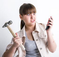 Angry customer on phone