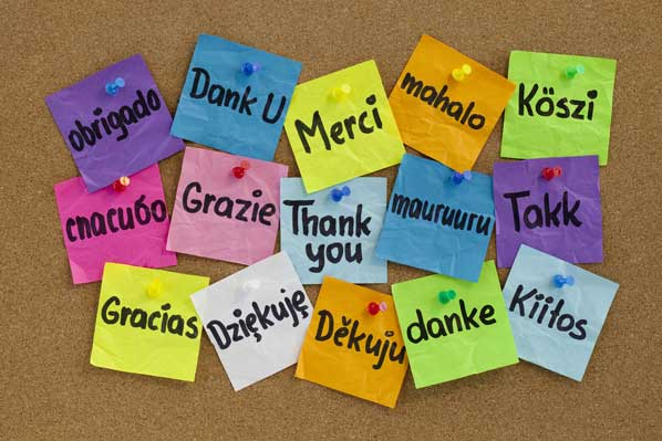 Thank you notes in different laguages