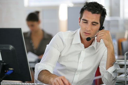 Customer Service Manager with headset
