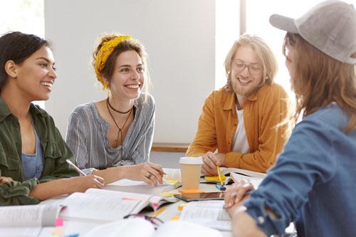 Team of millennials at work