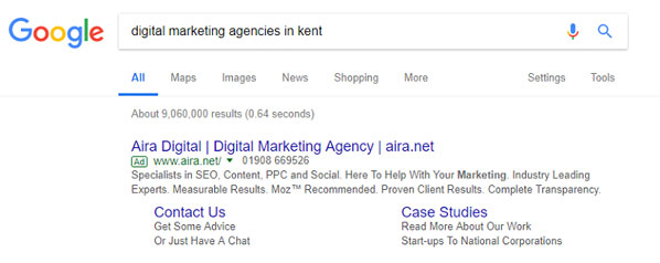 Digital marketing agencies google search