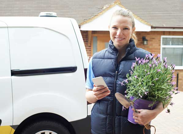 Mobile flower business women
