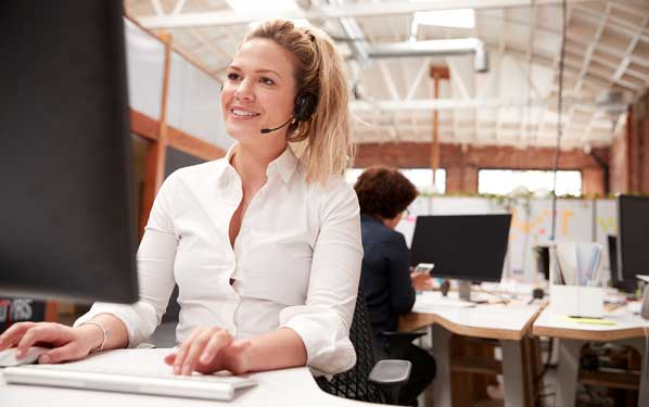 Call Center Agent calling customer for feedback