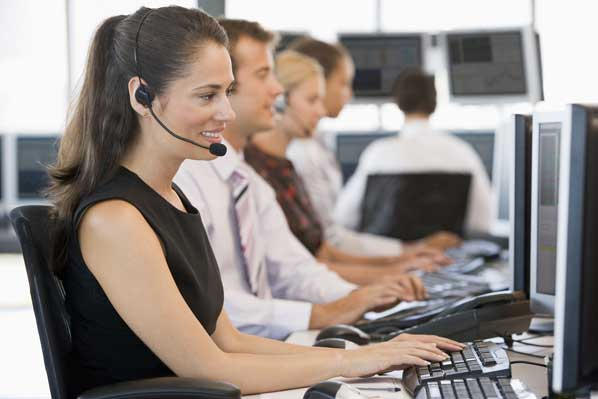 Call centre team a work
