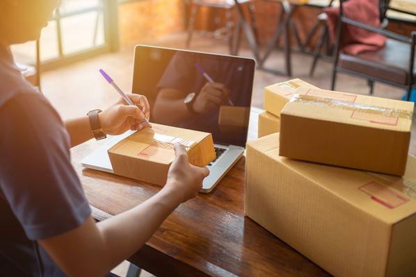 Online store prepares parcels