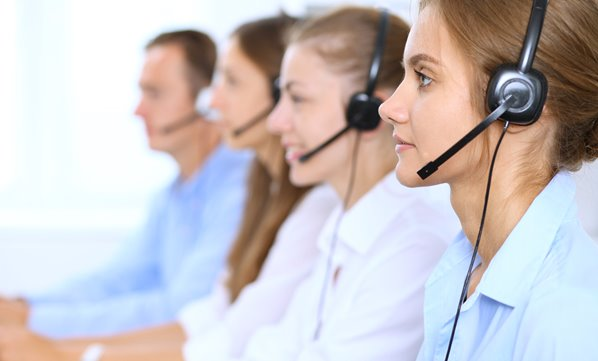 Call Center Operators with Headsets