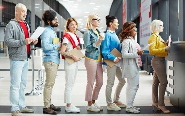 Customers standing in line