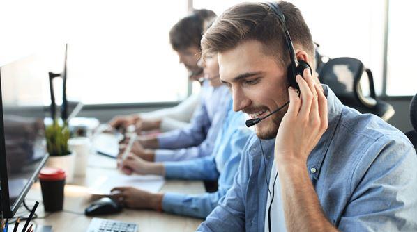 Customer service operator on the phone