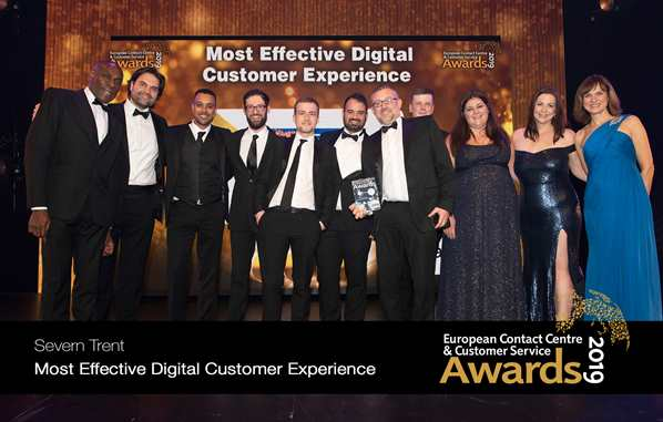 Severn Trent digital team picking up gold at the 2019 European Contact Centre and Customer Service Awards