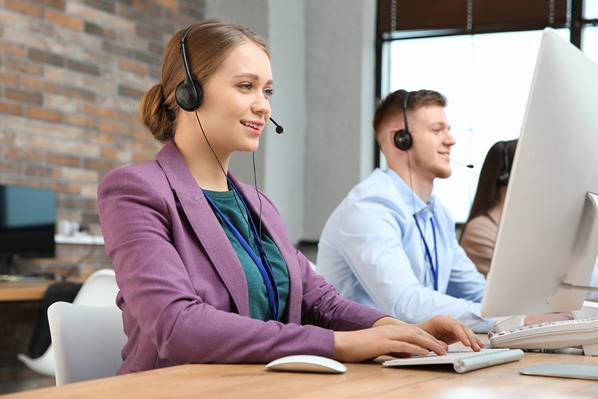 Customer service agents in office