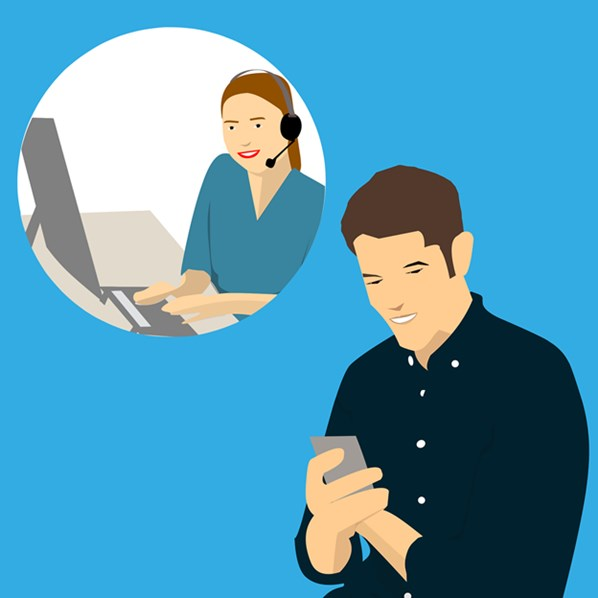 Customer chatting with call center agent