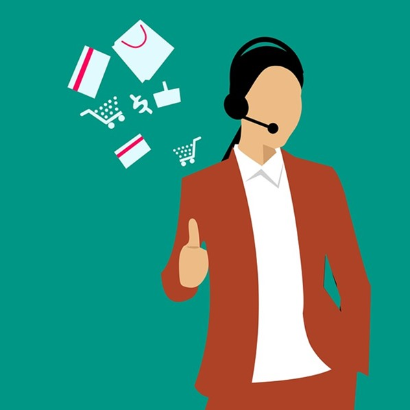 Customer service agent using headset