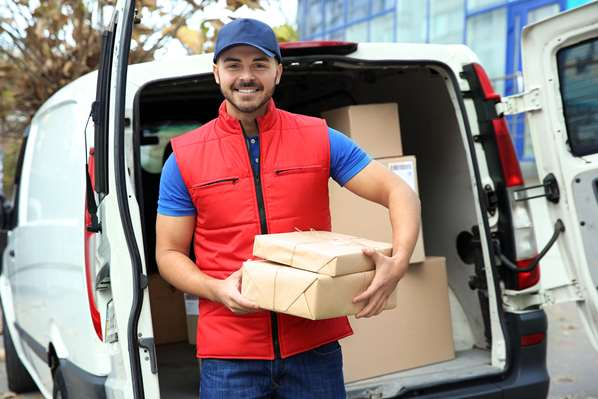 Delivery driver with parcels for customer
