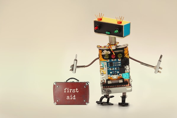 Robot with first-aid kit