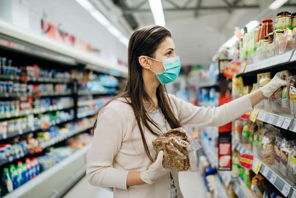 Customer in mask during Covid19 pandemic