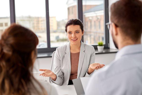 Coworkers in office meeting