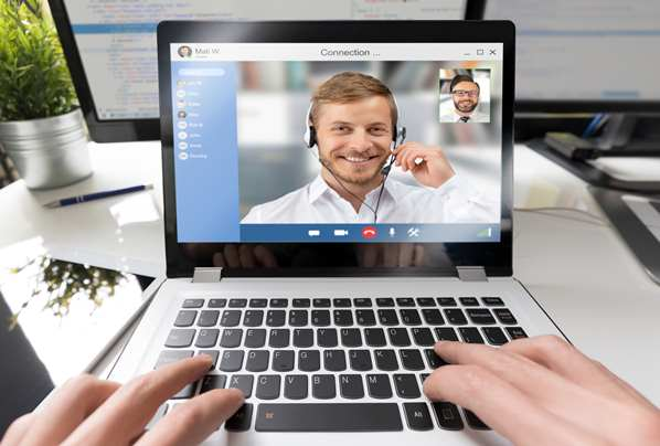 Man Video Conferencing on Zoom