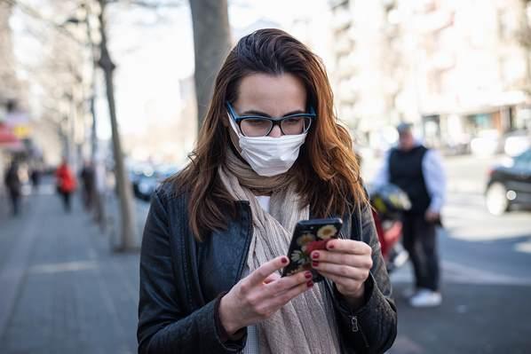 Women wearing mask on street during Coronavirus pandemic