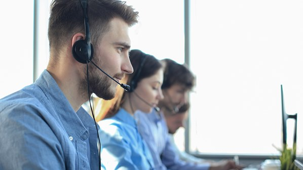 Local government employees in call centre