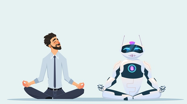 Man doing yoga with AI robot
