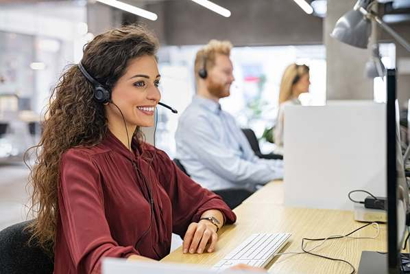 Call Center agent talking with customer