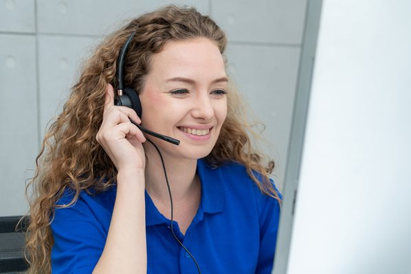 Call Center Agent with headset