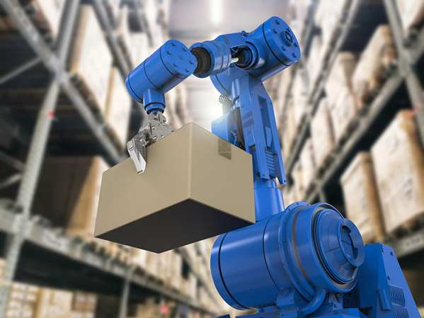 Palletizing Robot at work in warehouse
