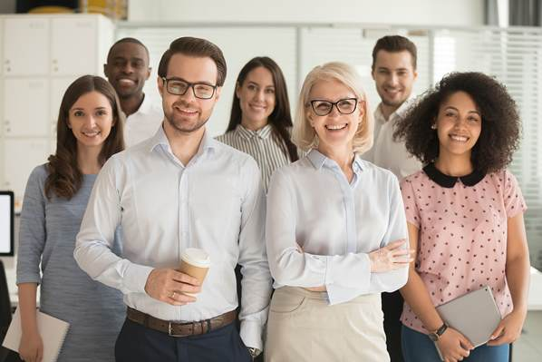 Business employees with health insurance