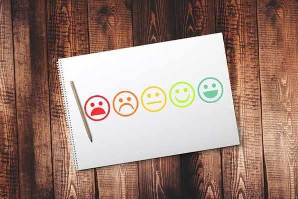 Smiley faces customer feedback form