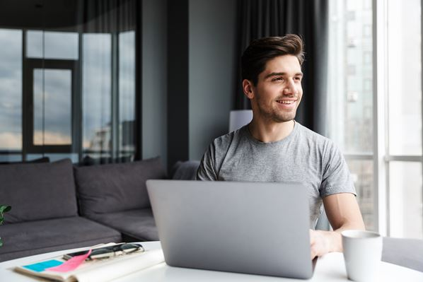 Employee working at home with secure data
