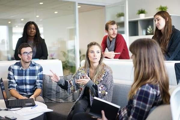 Team discussing company culture
