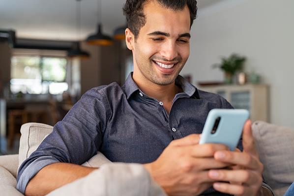 Customer using chat app