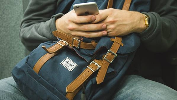 Backpack and mobile phone