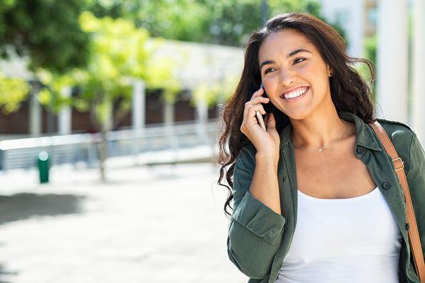 Happy customer on phone