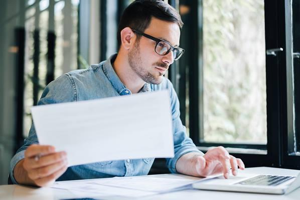 Employee preparing his tax return