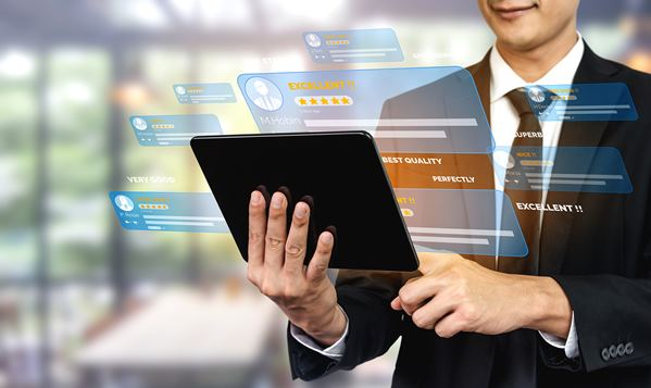 Customer feedback software on laptop