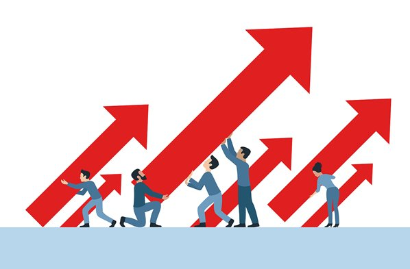 Business growth arrows up