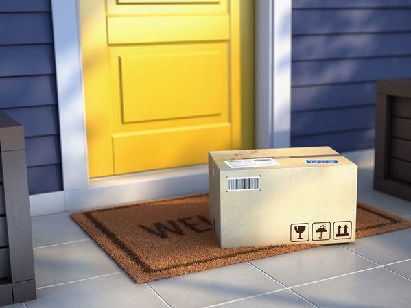 Parcel delivery left on doorstep