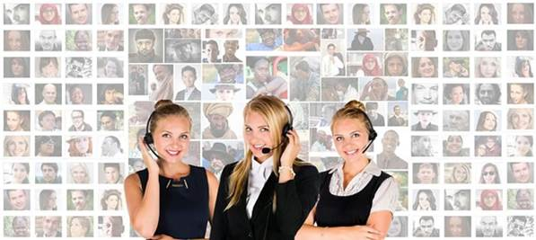 Call center agents with headsets